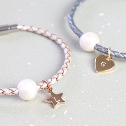 Personalised Woven Leather and Pearl Bead Bracelet with Initial