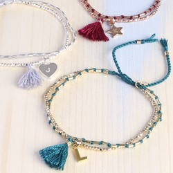 Personalised Layered Tassel Friendship Bracelet with Initial Charm