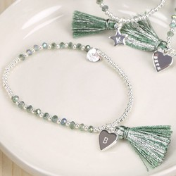 Personalised Green Tassel Star Friendship Bracelet with Initial
