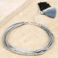 Slim Multi-Strand Grey Leather and Bead Tassel Bracelet