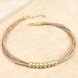 Multi-Strand Leather and Matt Gold Bead Necklace