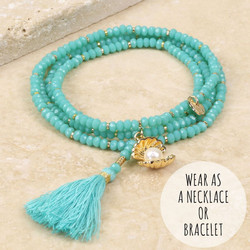 Wrap Bracelet with Pearl and Tassel in Aqua