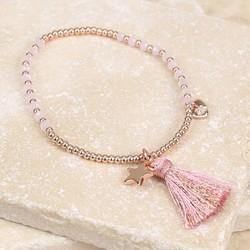 Tassel Star Friendship Bracelet in Pink