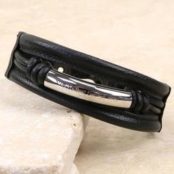 Personalised Men's Leather Cuff Bracelet