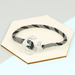 Men's Two Tone Rope Bracelet with Antiqued Anchor Clasp