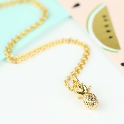Tiny Delicate Gold Pineapple Necklace