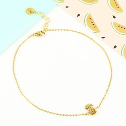 Tiny Delicate Gold Pineapple Anklet