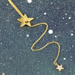 Long Double Star Y Necklace in Gold