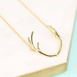 Short Gold Antlers Necklace