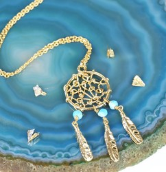Short Gold and Turquoise Dreamcatcher Necklace