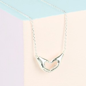 Heart Shaped Hands Necklace in Silver