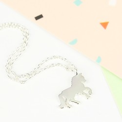 Short Flat Silver Horse Necklace