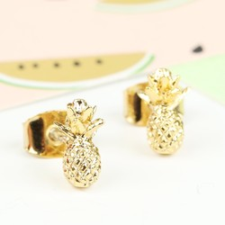 Tiny Delicate Gold Pineapple Earrings
