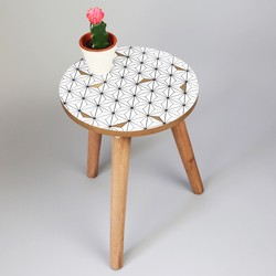 Small Monochrome & Gold Geometric Side Table