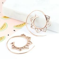 Rose Gold Petal Spiral Hoop Earrings