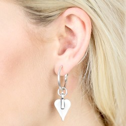 Danon Large Silver Heart Earrings