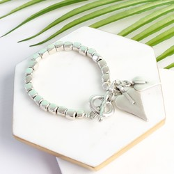 Danon Silver Cube Bracelet with Heart Charms