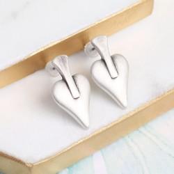 Danon Silver Signature Heart Stud Earrings