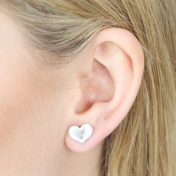 Danon Silver Heart Stud Earrings