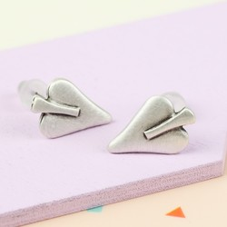 Mini Danon Silver Signature Heart Stud Earrings