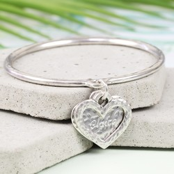 Danon Personalised Double Heart Charm Bangle