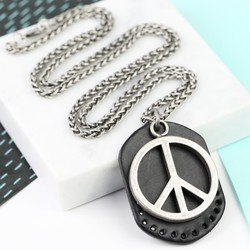 Men's Peace Sign and Leather Tag Necklace