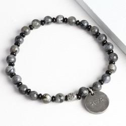 Men's Personalised Black and Grey Stone Beaded Bracelet