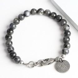 Men's Personalised Black Obsidian Beaded Bracelet