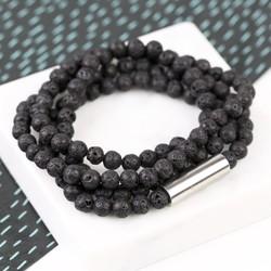 Men's Volcanic Stone Beaded Wrap Bracelet
