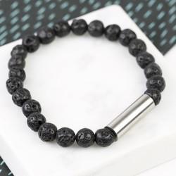 Men's Black Volcanic Stone Stainless Steel Tube Bracelet