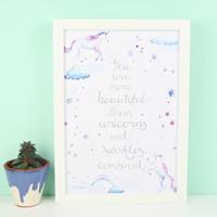 'More Beautiful' Unicorn Typography Print