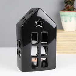 Black Ceramic House Tealight Holder