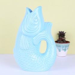 Aqua Blue Ceramic Fish Vase