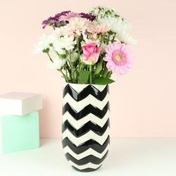 Ceramic Monochrome Chevron Vase