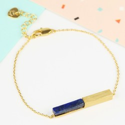 Gold and Blue Lapis Bar Bracelet