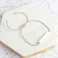 Brushed Sterling Silver Bar and Cord Bracelet