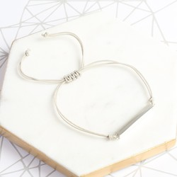 Shiny Sterling Silver Bar and Cord Bracelet