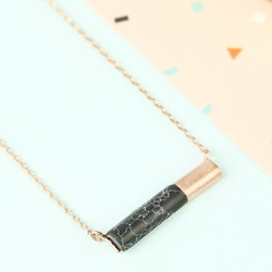 Black Marble Tube Pendant Necklace in Rose Gold