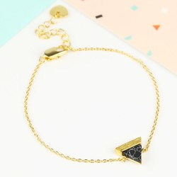 Black Marble Triangle Bracelet in Gold