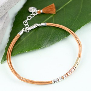 Leather Cord and Mixed Metal Beads Bracelet