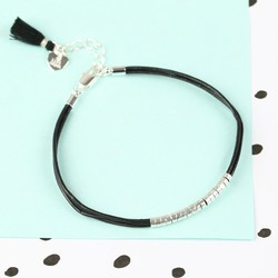 Leather Cord and Silver Beads Bracelet