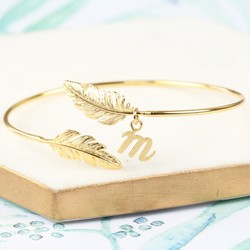 Personalised Feather Bangle