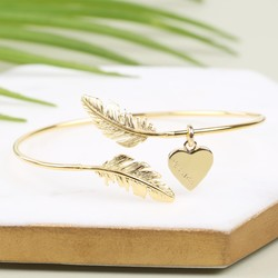 Feather Bangle with Name