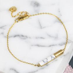 White Marble Tube Bracelet in Gold