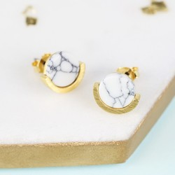 White Marble Disc Stud Earrings in Gold