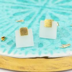 Square New Jade Stud Earrings