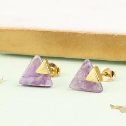 Triangle Amethyst Stud Earrings