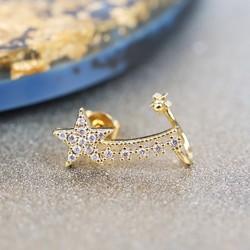 Gold Diamanté Shooting Star Short Ear Cuff