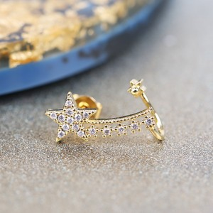 Gold Diamanté Shooting Star Short Ear Cuff