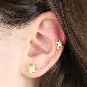 Gold Double Star and Chain Earcuff